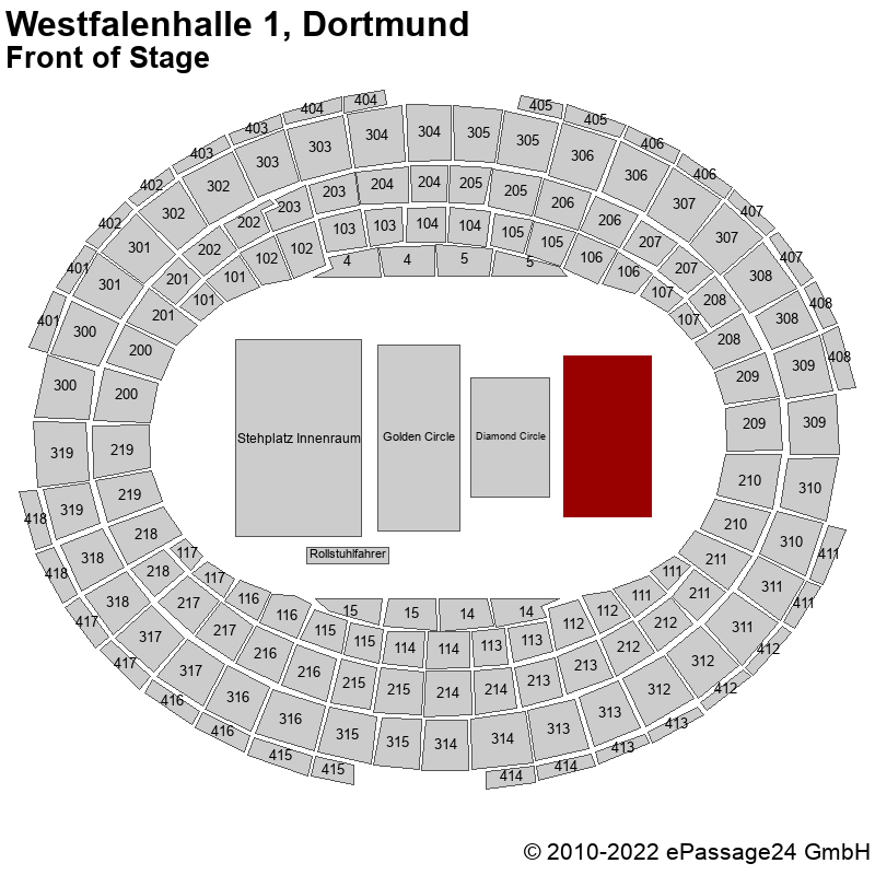 Saalplan Westfalenhalle 1, Dortmund, Deutschland, Front of Stage