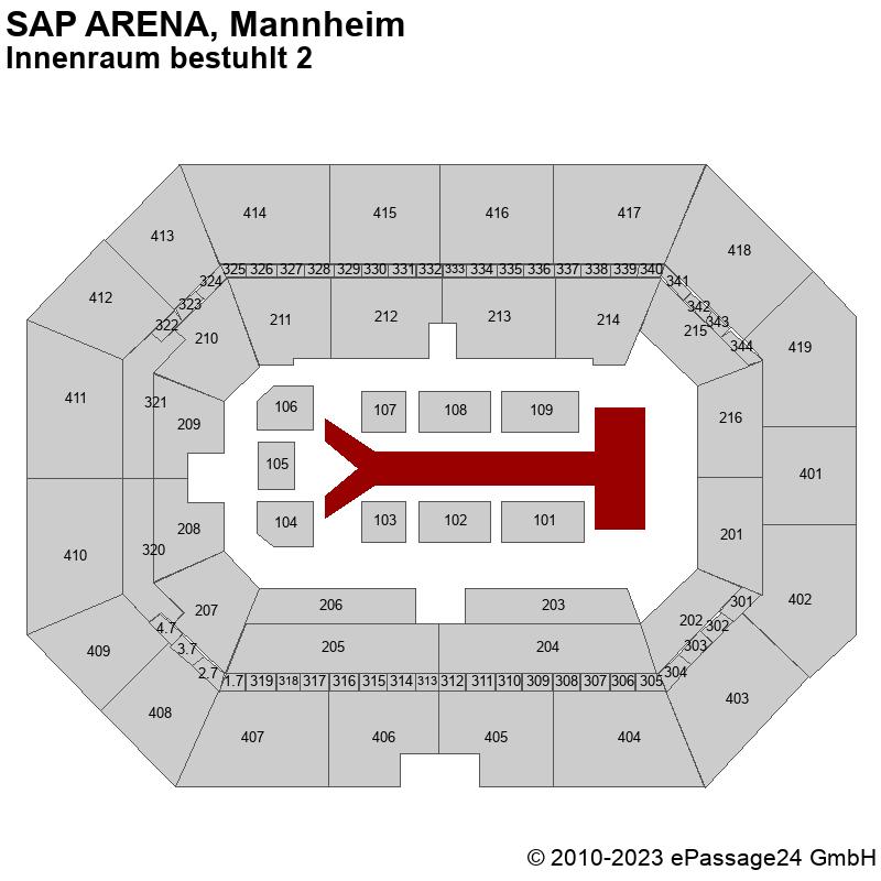 Saalplan SAP ARENA, Mannheim, Deutschland, Innenraum bestuhlt 2