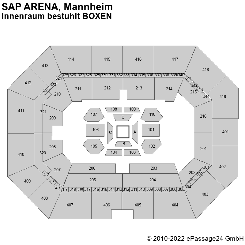 Saalplan SAP ARENA, Mannheim, Deutschland, Innenraum bestuhlt BOXEN