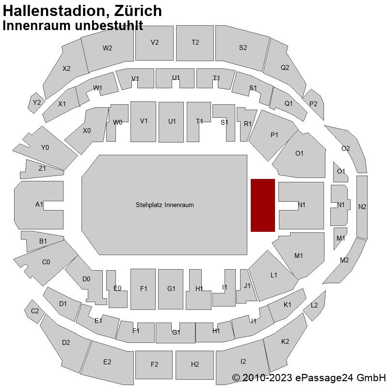 Saalplan Hallenstadion, Zürich, Schweiz, Innenraum unbestuhlt