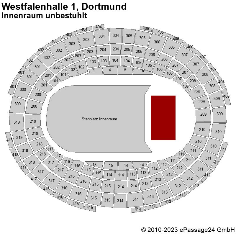 Saalplan Westfalenhalle 1, Dortmund, Deutschland, Innenraum unbestuhlt