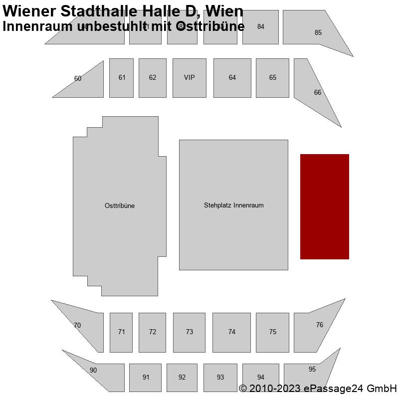 Saalplan Wiener Stadthalle Halle D, Wien, Österreich, Innenraum unbestuhlt mit Osttribüne