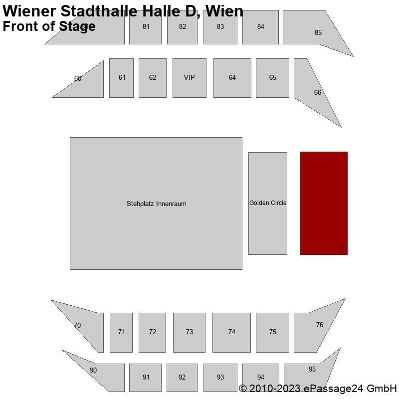 Saalplan Wiener Stadthalle Halle D, Wien, Österreich, Front of Stage