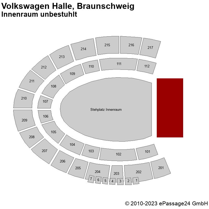 Saalplan Volkswagen Halle, Braunschweig, Deutschland, Innenraum unbestuhlt