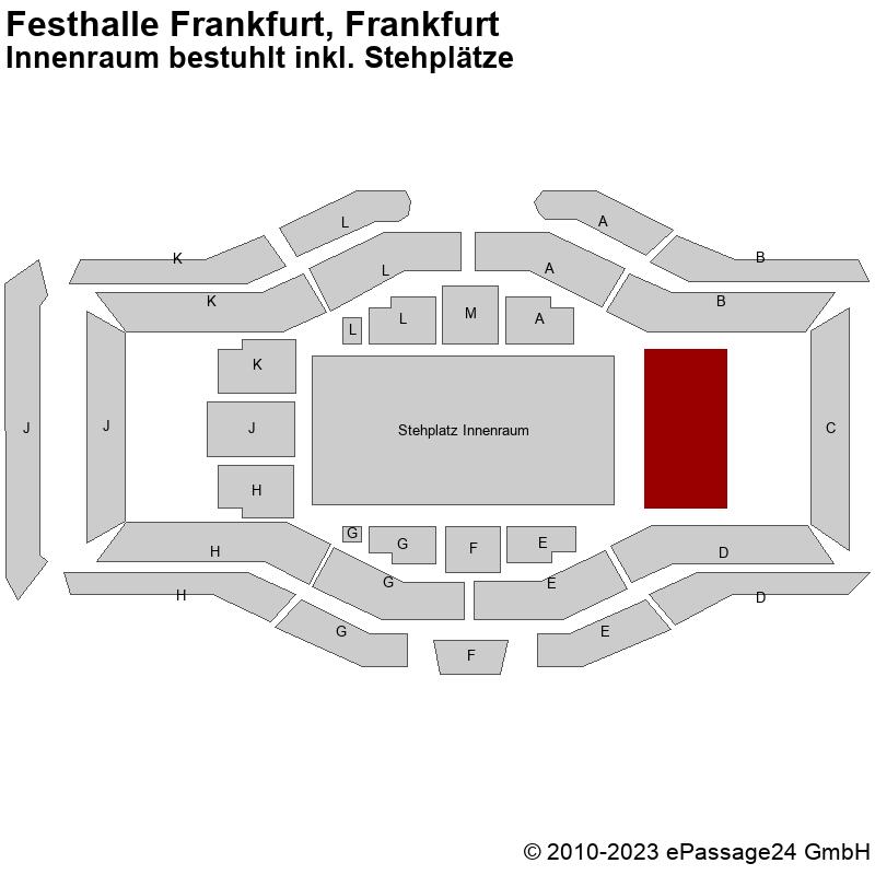 Saalplan Festhalle Frankfurt, Frankfurt, Deutschland, Innenraum bestuhlt inkl. Stehplätze
