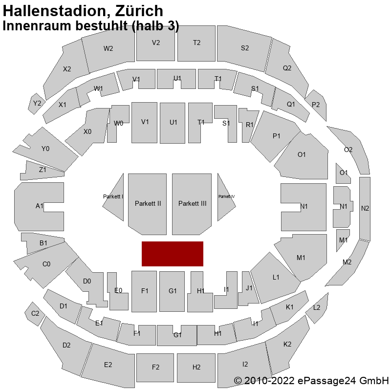 Saalplan Hallenstadion, Zürich, Schweiz, Innenraum bestuhlt (halb 3)