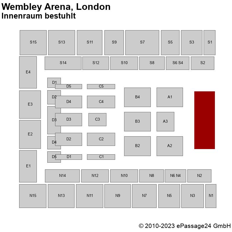 Saalplan Wembley Arena, London, Großbritannien, Innenraum bestuhlt