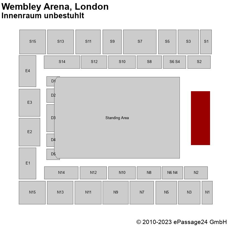 Saalplan Wembley Arena, London, Großbritannien, Innenraum unbestuhlt