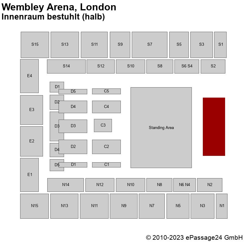 Saalplan Wembley Arena, London, Großbritannien, Innenraum bestuhlt (halb)