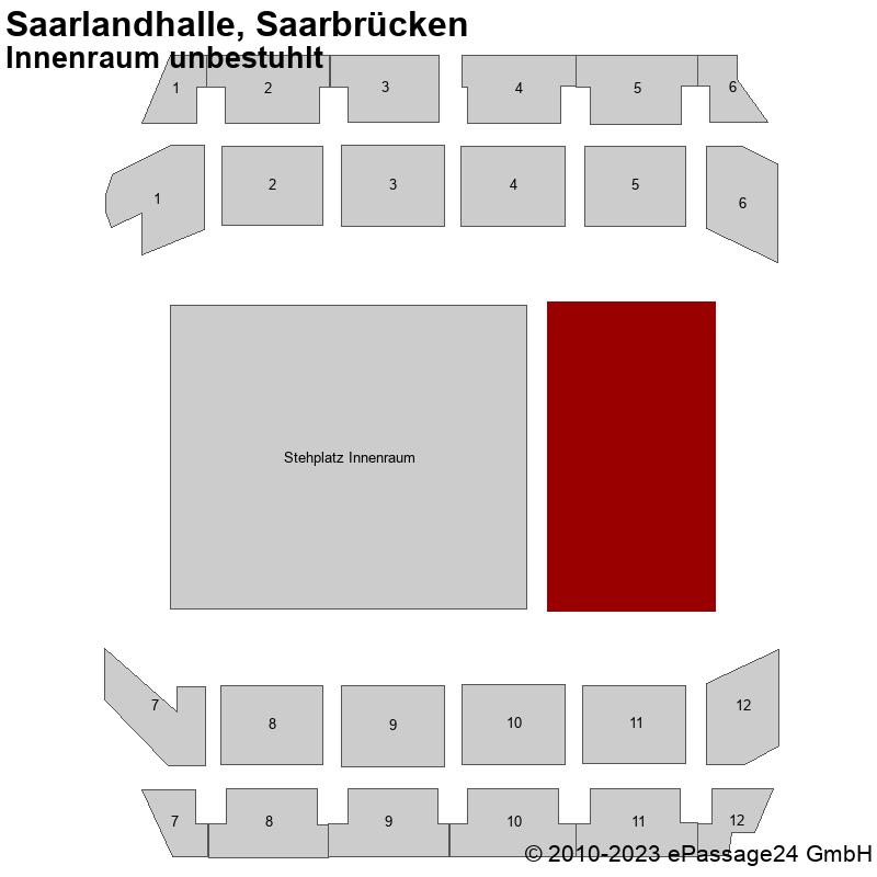 Saalplan Saarlandhalle, Saarbrücken, Deutschland, Innenraum unbestuhlt