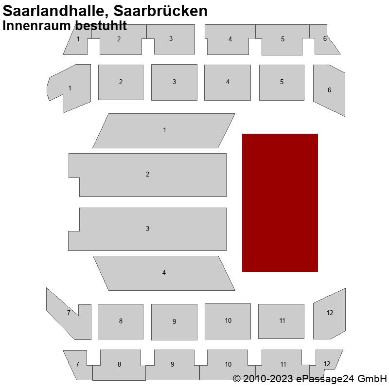 Saalplan Saarlandhalle, Saarbrücken, Deutschland, Innenraum bestuhlt