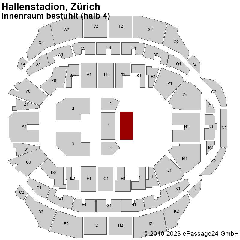 Saalplan Hallenstadion, Zürich, Schweiz, Innenraum bestuhlt (halb 4)