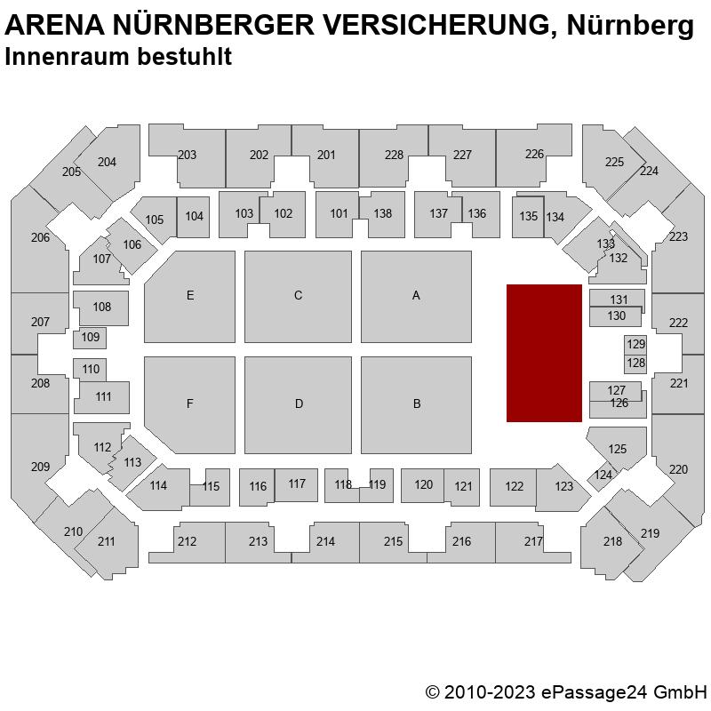 Saalplan ARENA NÜRNBERGER VERSICHERUNG, Nürnberg, Deutschland, Innenraum bestuhlt