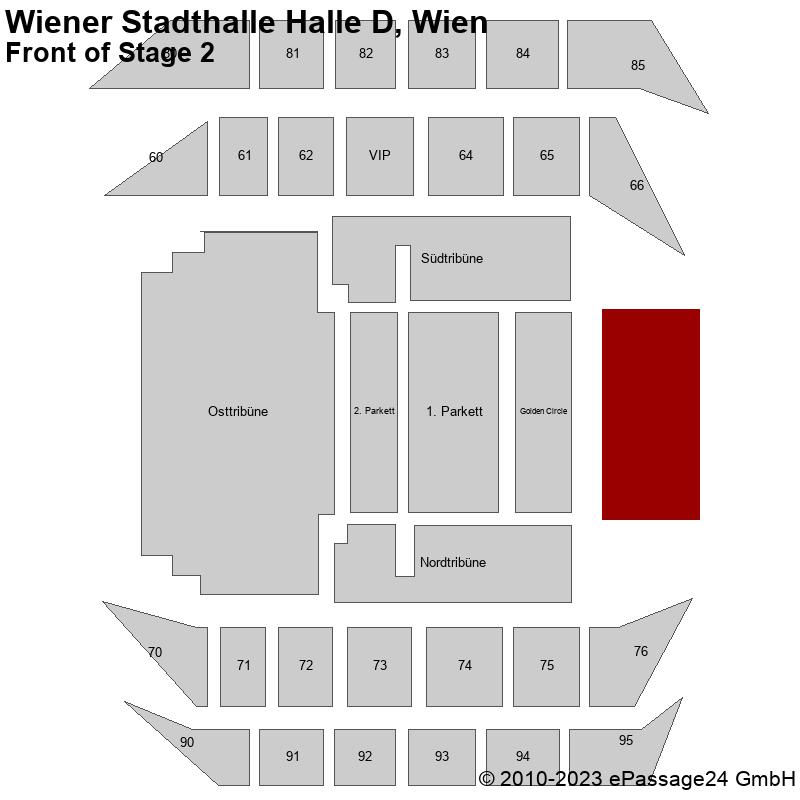 Saalplan Wiener Stadthalle Halle D, Wien, Österreich, Front of Stage 2