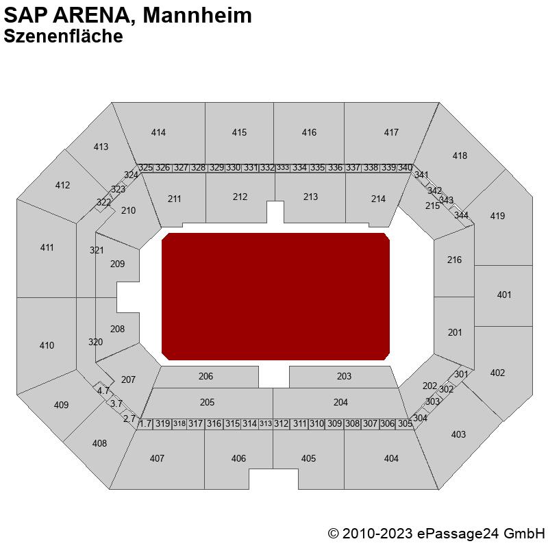 Saalplan SAP ARENA, Mannheim, Deutschland, Szenenfläche