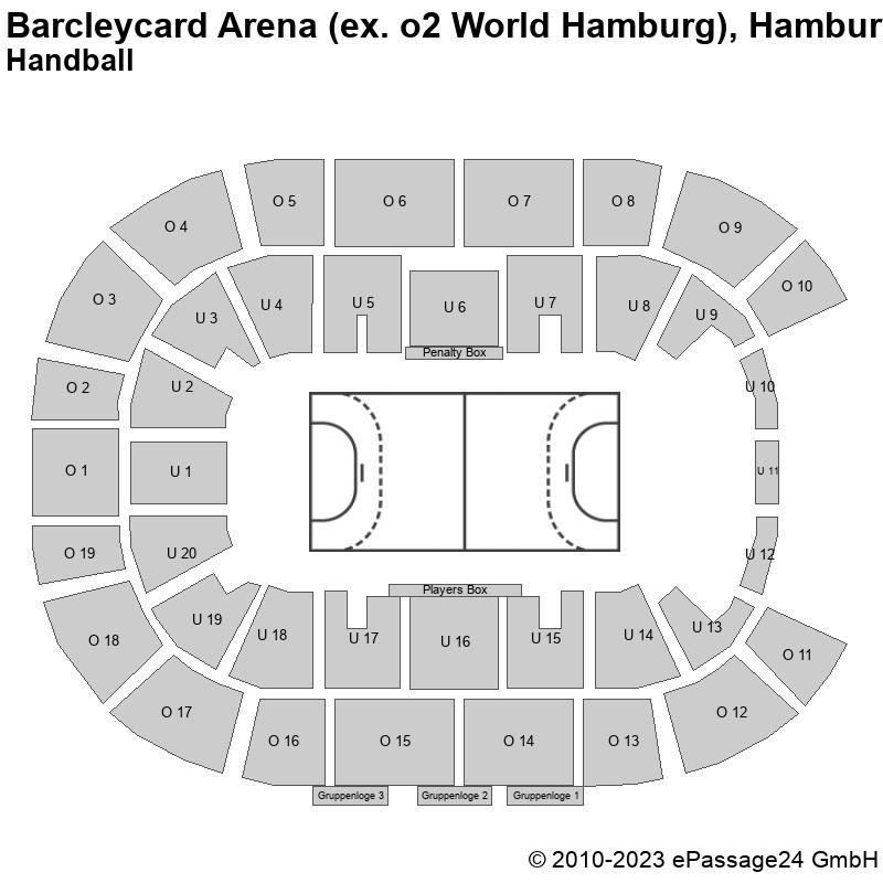 Saalplan Barcleycard Arena (ex. o2 World Hamburg), Hamburg, Deutschland, Handball