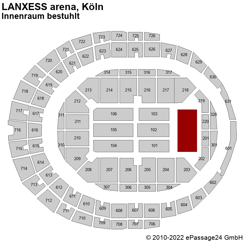Saalplan LANXESS arena, Köln, Deutschland, Innenraum bestuhlt