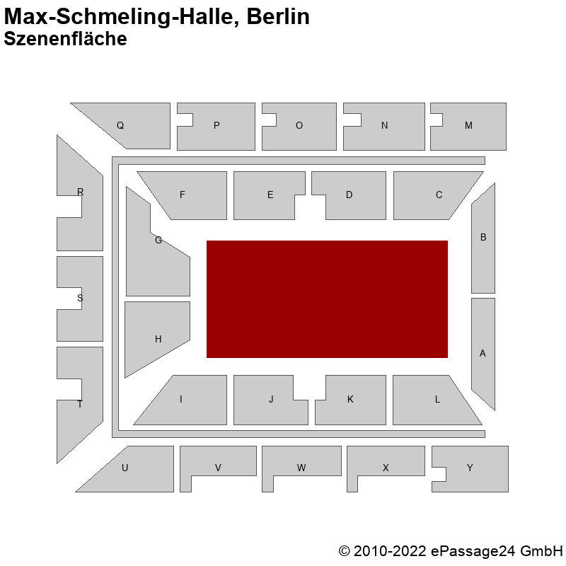 Saalplan Max-Schmeling-Halle, Berlin, Deutschland, Szenenfläche
