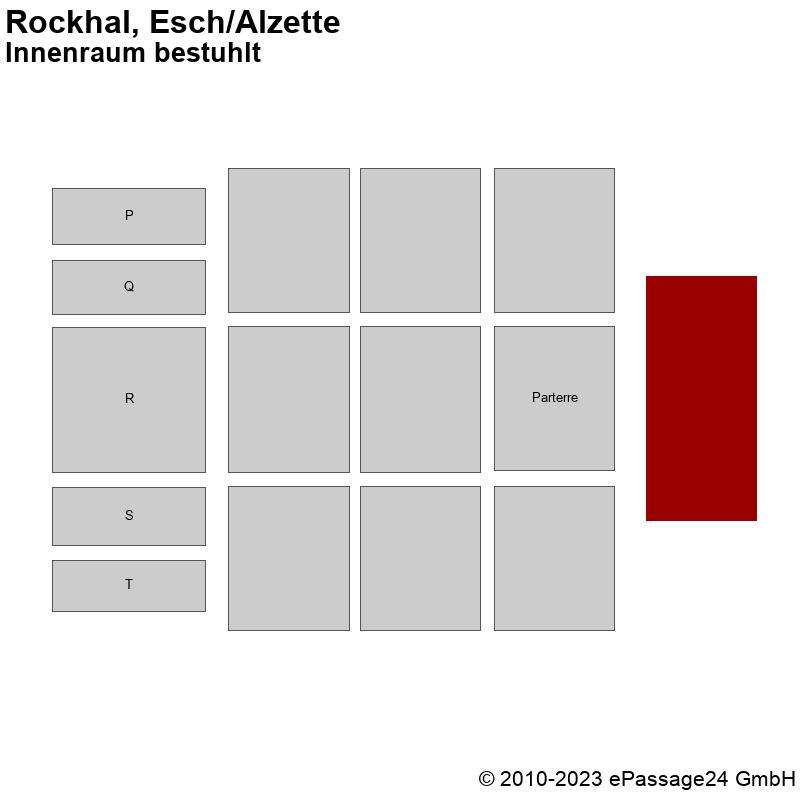 Saalplan Rockhal, Esch/Alzette, Luxembourg, Innenraum bestuhlt