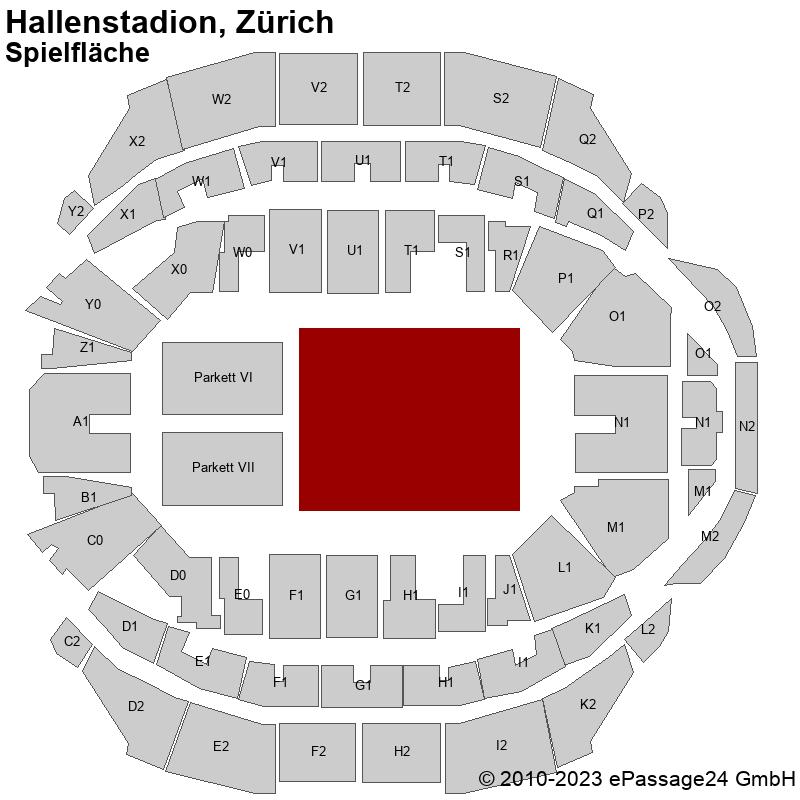 Saalplan Hallenstadion, Zürich, Schweiz, Spielfläche