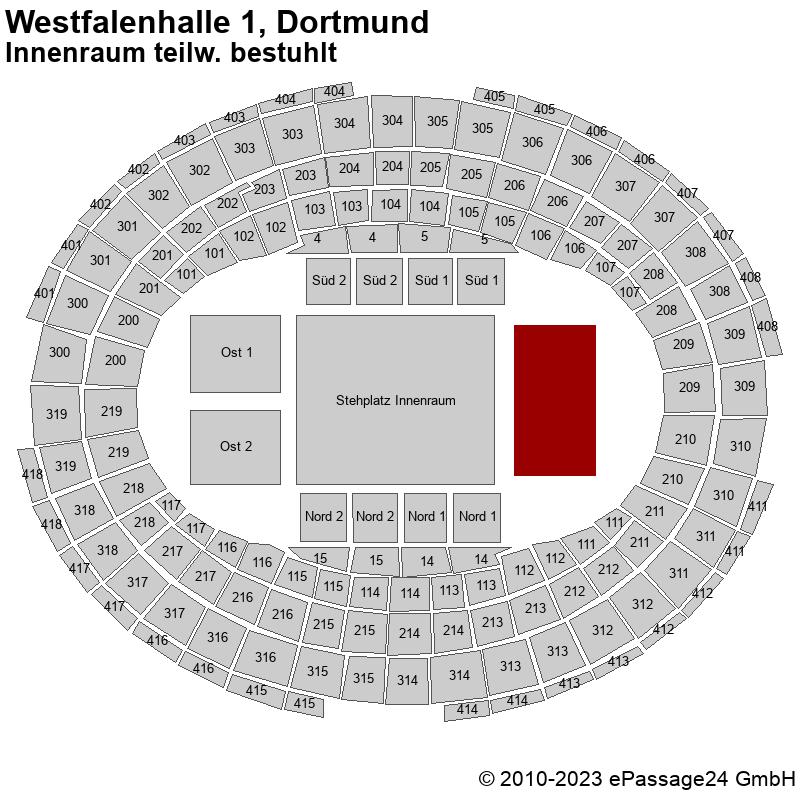 Saalplan Westfalenhalle 1, Dortmund, Deutschland, Innenraum teilw. bestuhlt