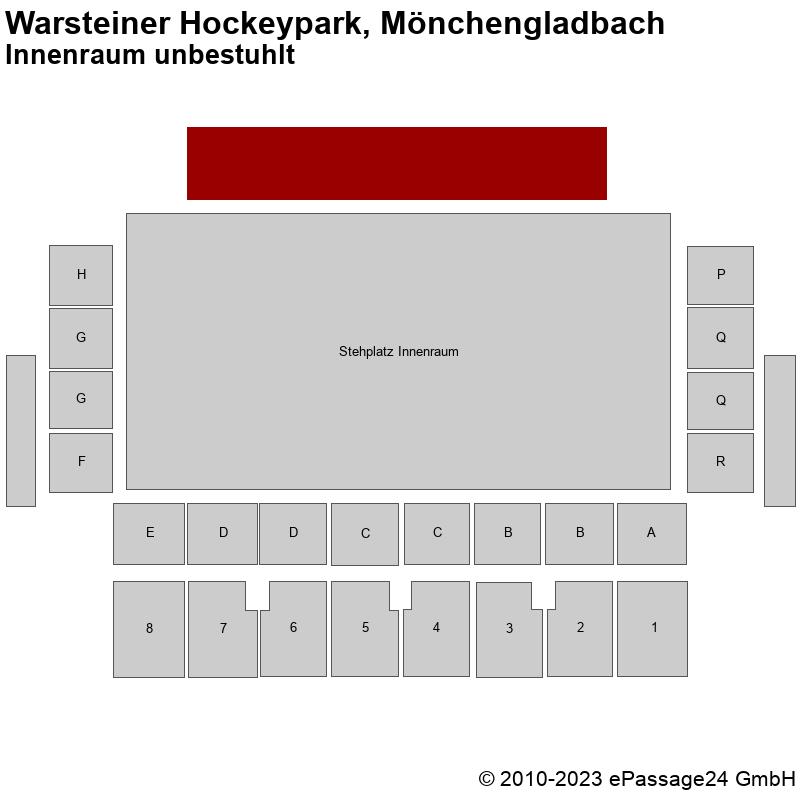 Saalplan Warsteiner Hockeypark, Mönchengladbach, Deutschland, Innenraum unbestuhlt