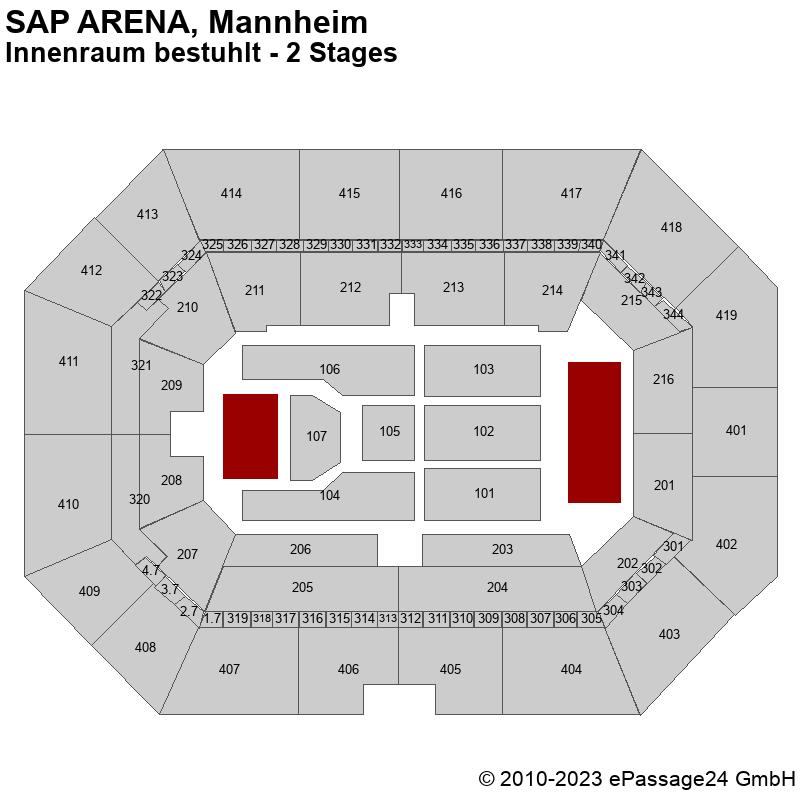 Saalplan SAP ARENA, Mannheim, Deutschland, Innenraum bestuhlt - 2 Stages