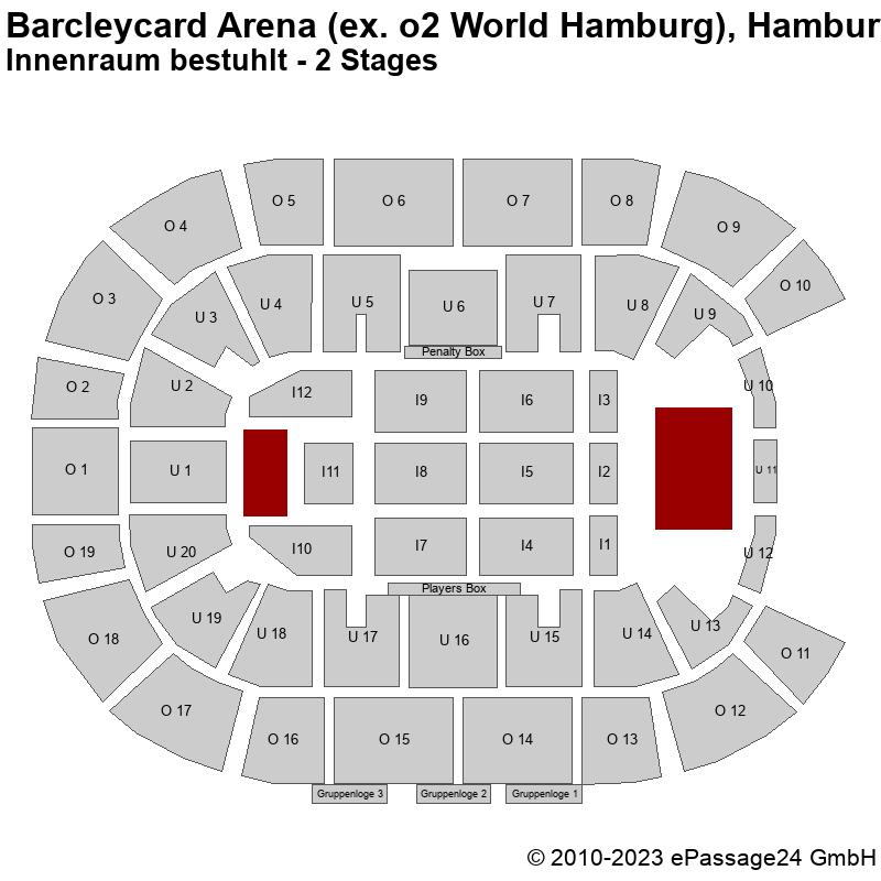Saalplan Barcleycard Arena (ex. o2 World Hamburg), Hamburg, Deutschland, Innenraum bestuhlt - 2 Stages