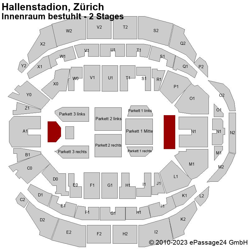 Saalplan Hallenstadion, Zürich, Schweiz, Innenraum bestuhlt - 2 Stages