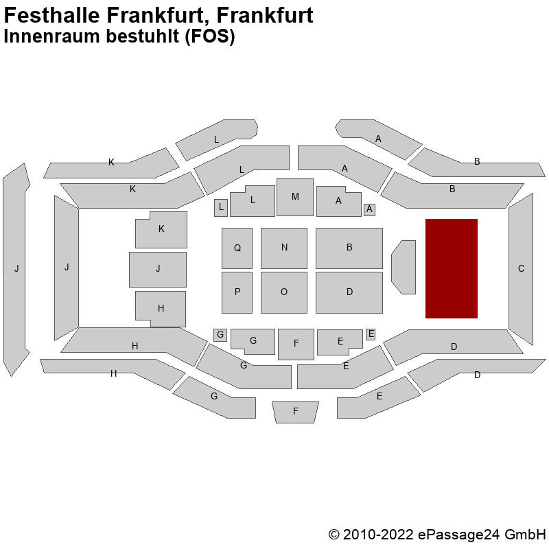 Saalplan Festhalle Frankfurt, Frankfurt, Deutschland, Innenraum bestuhlt (FOS)
