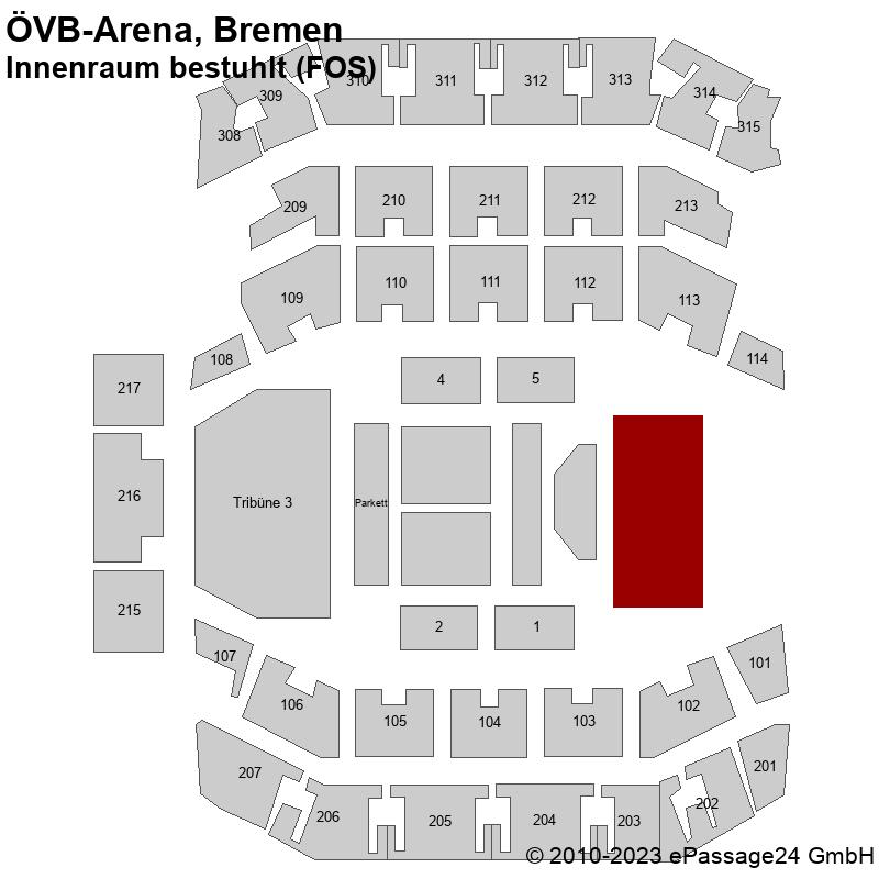 Saalplan ÖVB-Arena, Bremen, Deutschland, Innenraum bestuhlt (FOS)