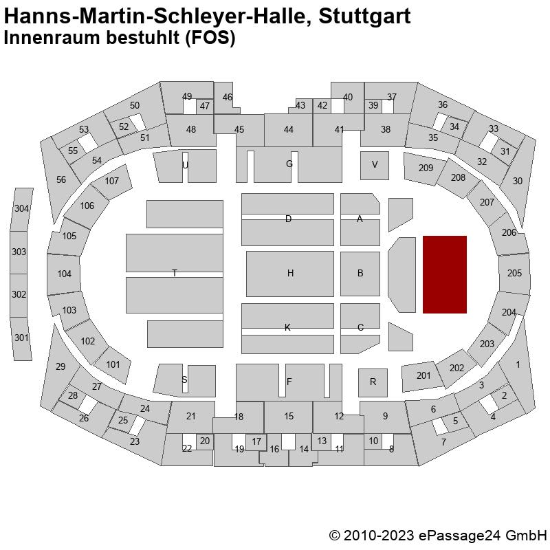 Saalplan Hanns-Martin-Schleyer-Halle, Stuttgart, Deutschland, Innenraum bestuhlt (FOS)