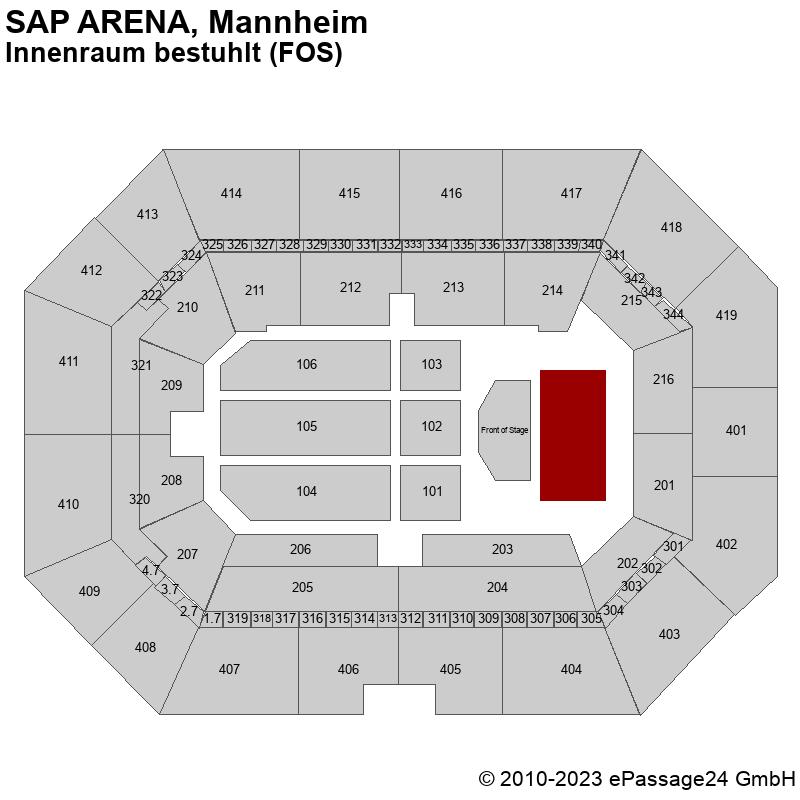 Saalplan SAP ARENA, Mannheim, Deutschland, Innenraum bestuhlt (FOS)