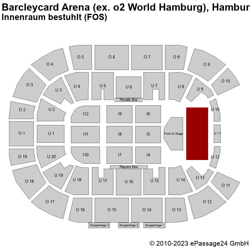 Saalplan Barcleycard Arena (ex. o2 World Hamburg), Hamburg, Deutschland, Innenraum bestuhlt (FOS)