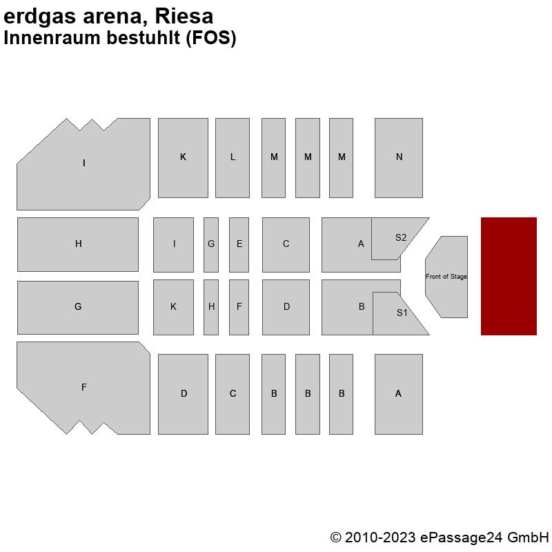 Saalplan erdgas arena, Riesa, Deutschland, Innenraum bestuhlt (FOS)