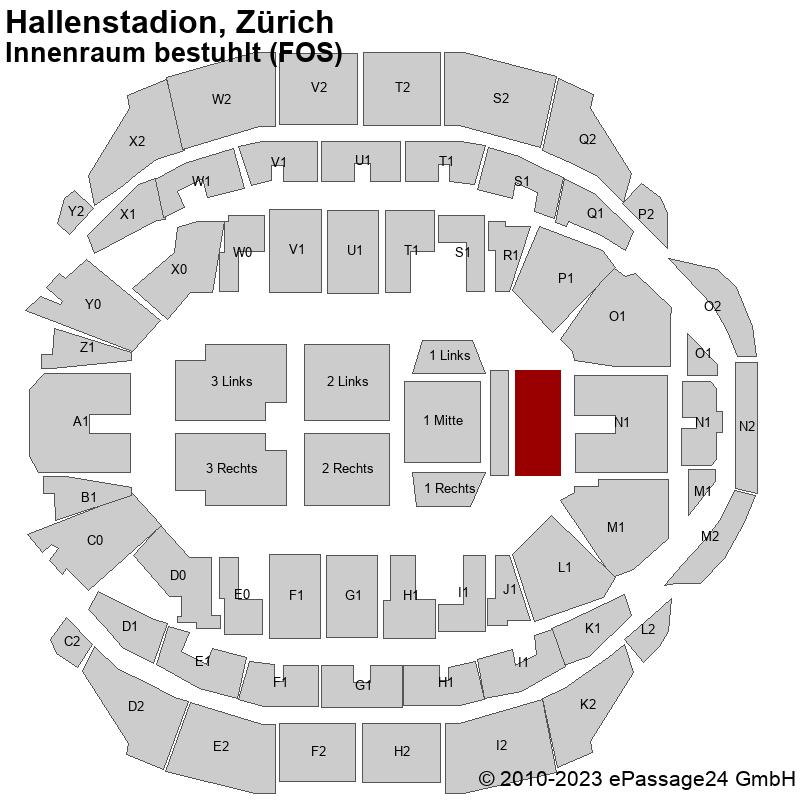 Saalplan Hallenstadion, Zürich, Schweiz, Innenraum bestuhlt (FOS)