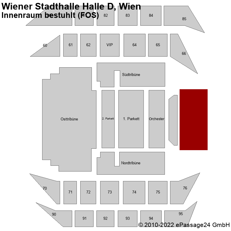 Saalplan Wiener Stadthalle Halle D, Wien, Österreich, Innenraum bestuhlt (FOS)