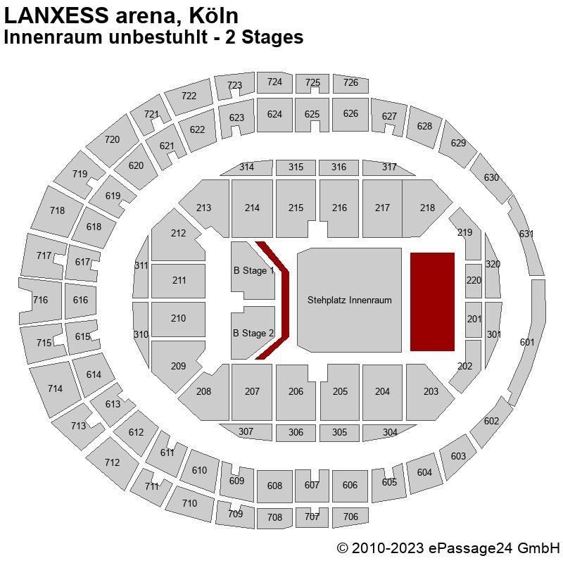 Saalplan LANXESS arena, Köln, Deutschland, Innenraum unbestuhlt - 2 Stages