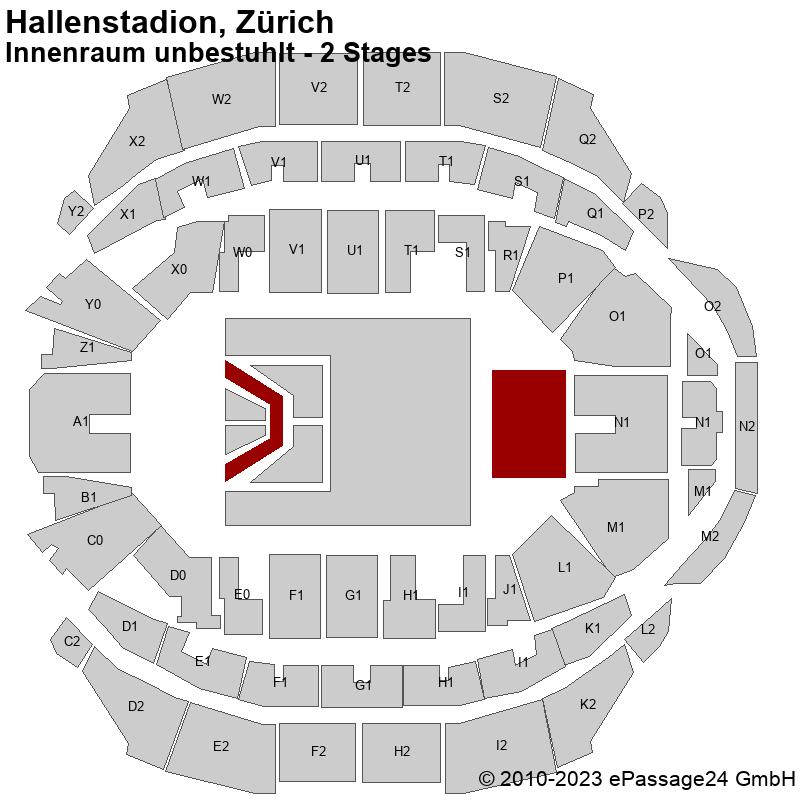 Saalplan Hallenstadion, Zürich, Schweiz, Innenraum unbestuhlt - 2 Stages