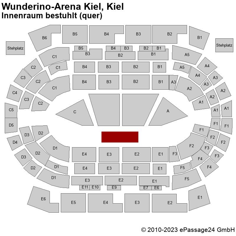 Saalplan Wunderino-Arena Kiel, Kiel, Deutschland, Innenraum bestuhlt (quer)