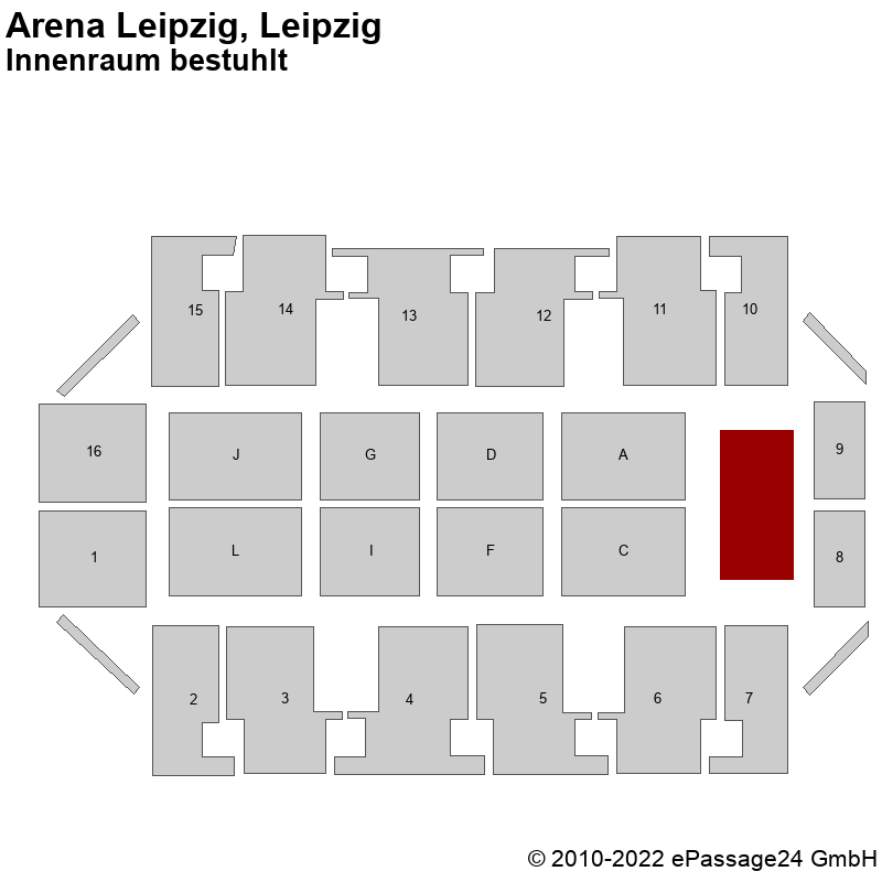 Saalplan Arena Leipzig, Leipzig, Deutschland, Innenraum bestuhlt