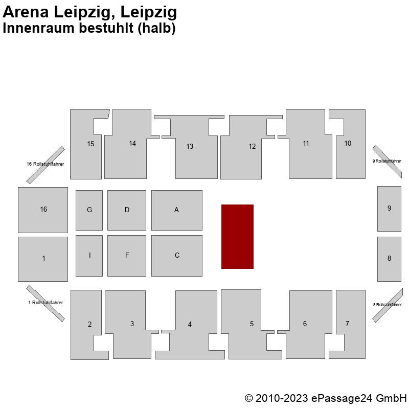 Saalplan Arena Leipzig, Leipzig, Deutschland, Innenraum bestuhlt (halb)