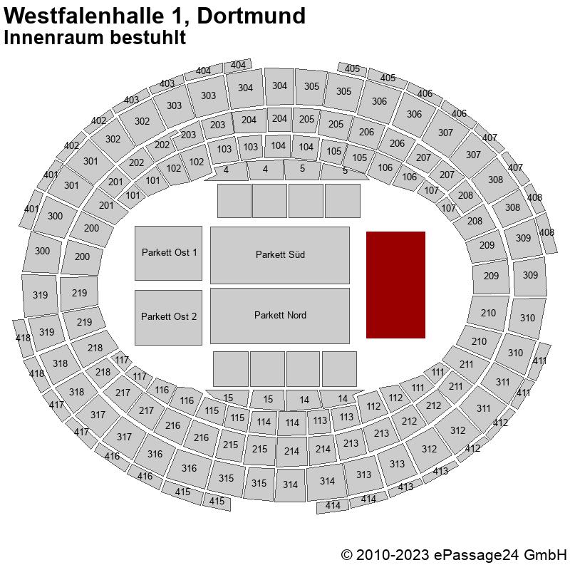 Saalplan Westfalenhalle 1, Dortmund, Deutschland, Innenraum bestuhlt