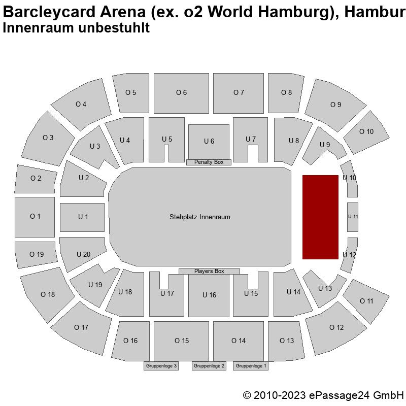 Saalplan Barcleycard Arena (ex. o2 World Hamburg), Hamburg, Deutschland, Innenraum unbestuhlt