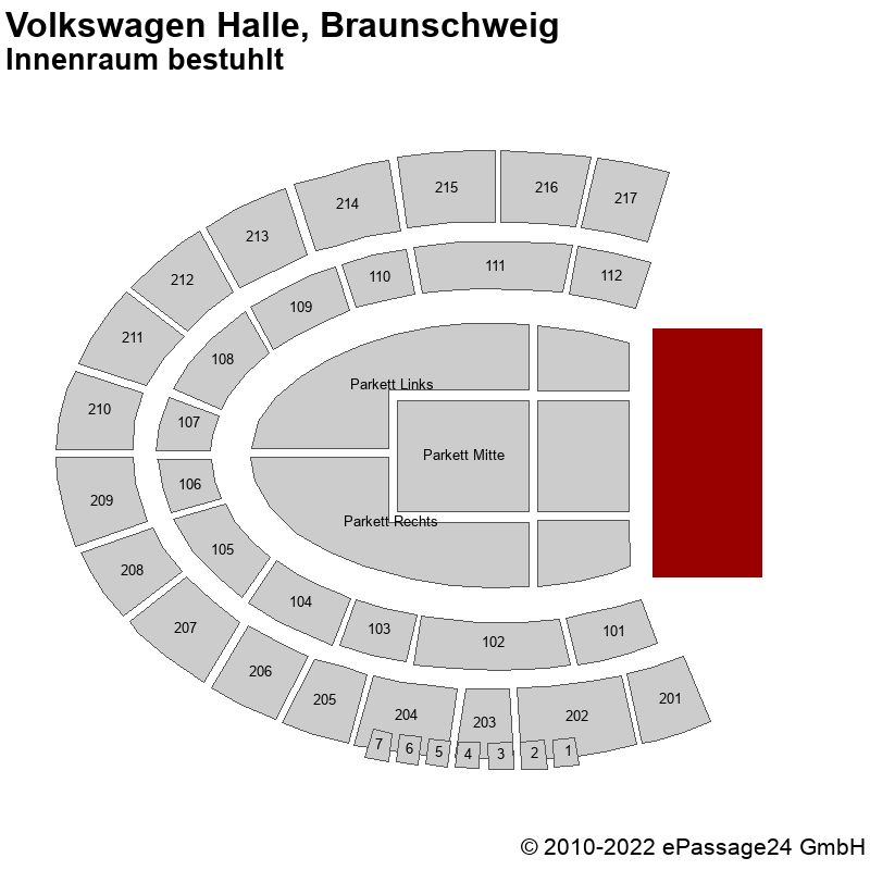 Saalplan Volkswagen Halle, Braunschweig, Deutschland, Innenraum bestuhlt