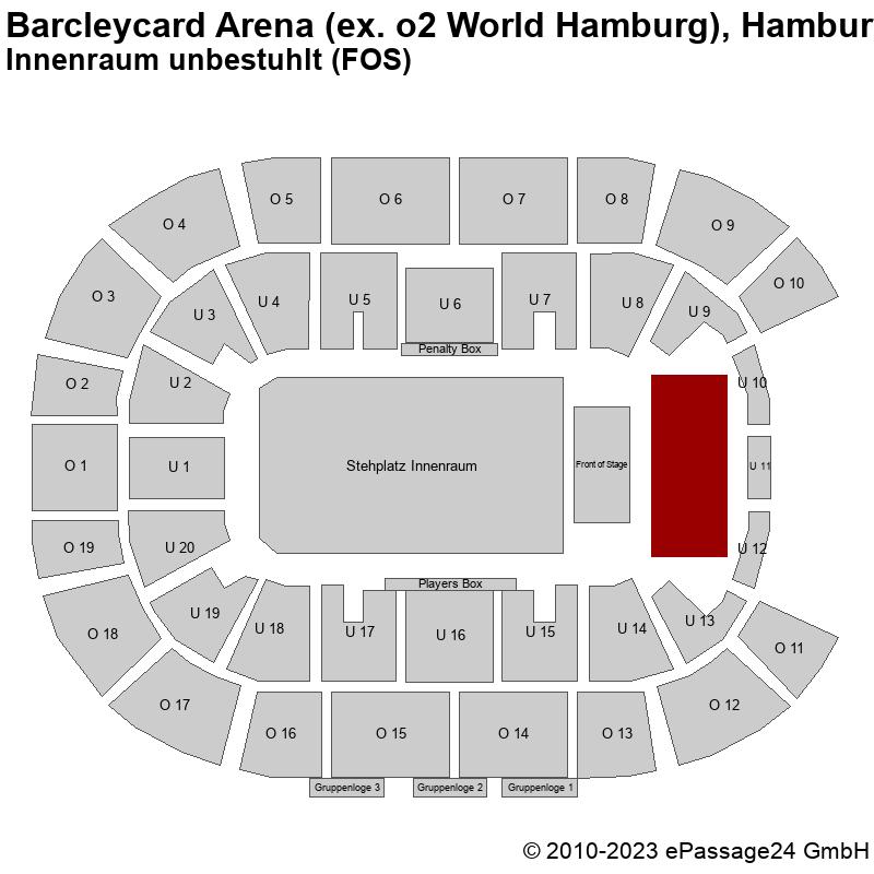 Saalplan Barcleycard Arena (ex. o2 World Hamburg), Hamburg, Deutschland, Innenraum unbestuhlt (FOS)