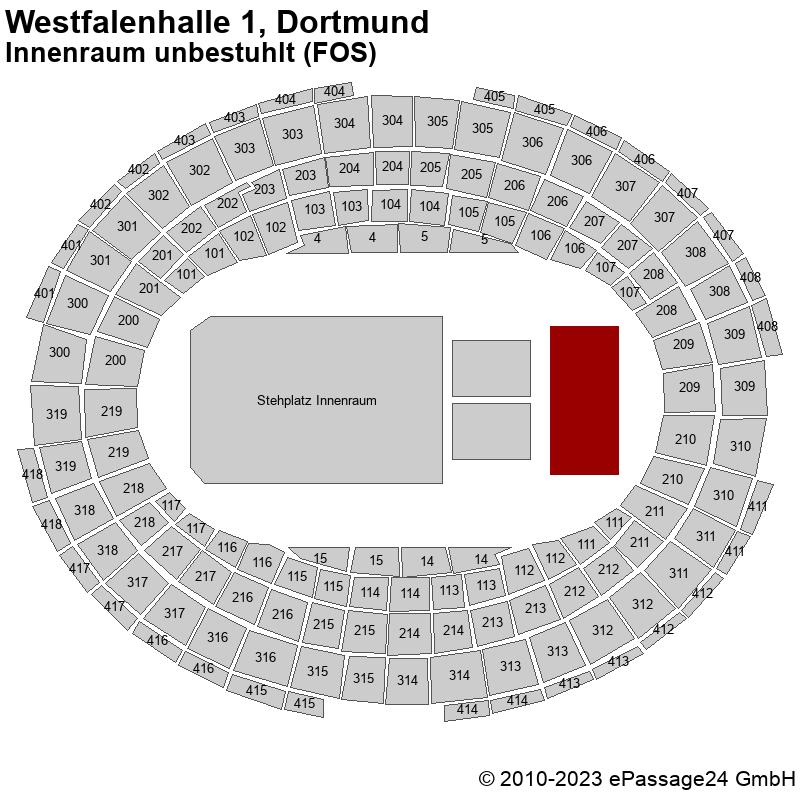 Saalplan Westfalenhalle 1, Dortmund, Deutschland, Innenraum unbestuhlt (FOS)