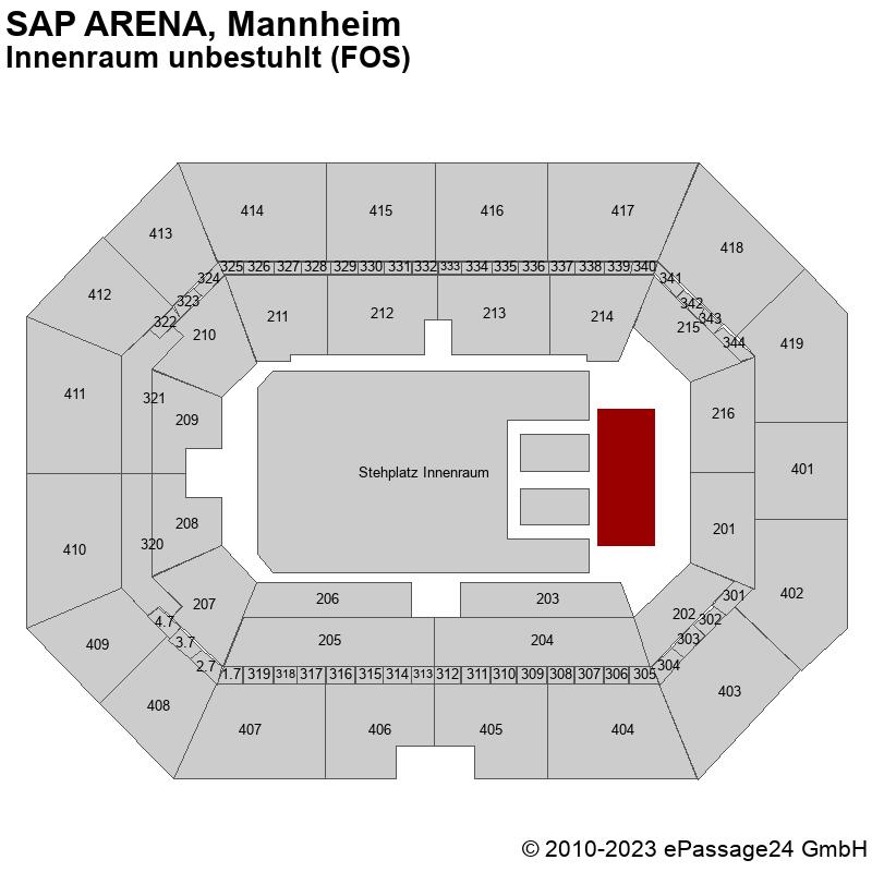 Saalplan SAP ARENA, Mannheim, Deutschland, Innenraum unbestuhlt (FOS)