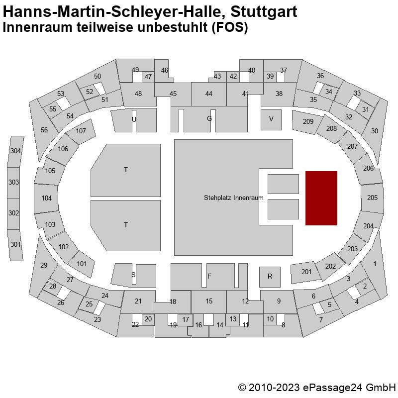 Saalplan Hanns-Martin-Schleyer-Halle, Stuttgart, Deutschland, Innenraum teilweise unbestuhlt (FOS)