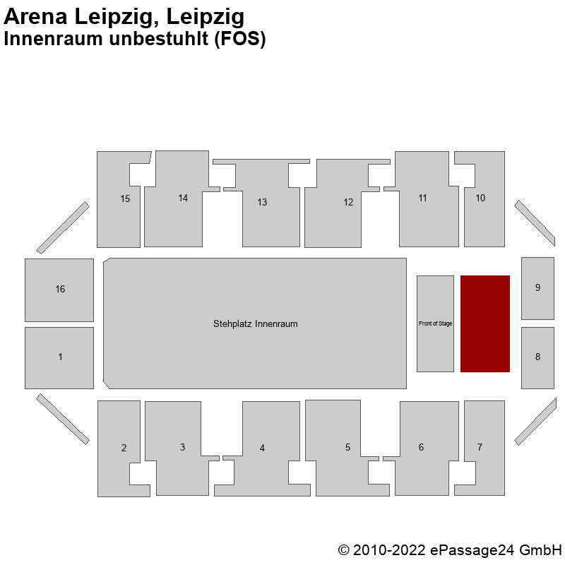 Saalplan Arena Leipzig, Leipzig, Deutschland, Innenraum unbestuhlt (FOS)